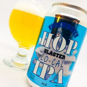 Hop Blaster Local IPA can and Belgian glass of beer