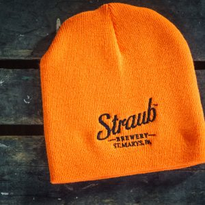 flourescent orange beanie hat with Strab Brewery logo stitched in black