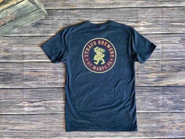 navy blue tee shirt with Straub Brewery Bavarian Man graphic