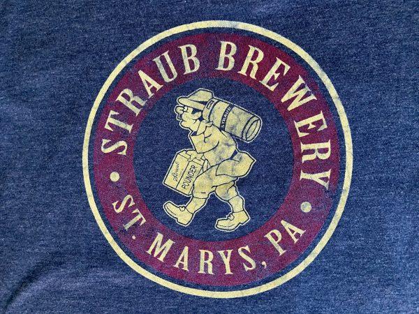 detail view of graphic on Straub Brewery Bavarian Man tee shirt