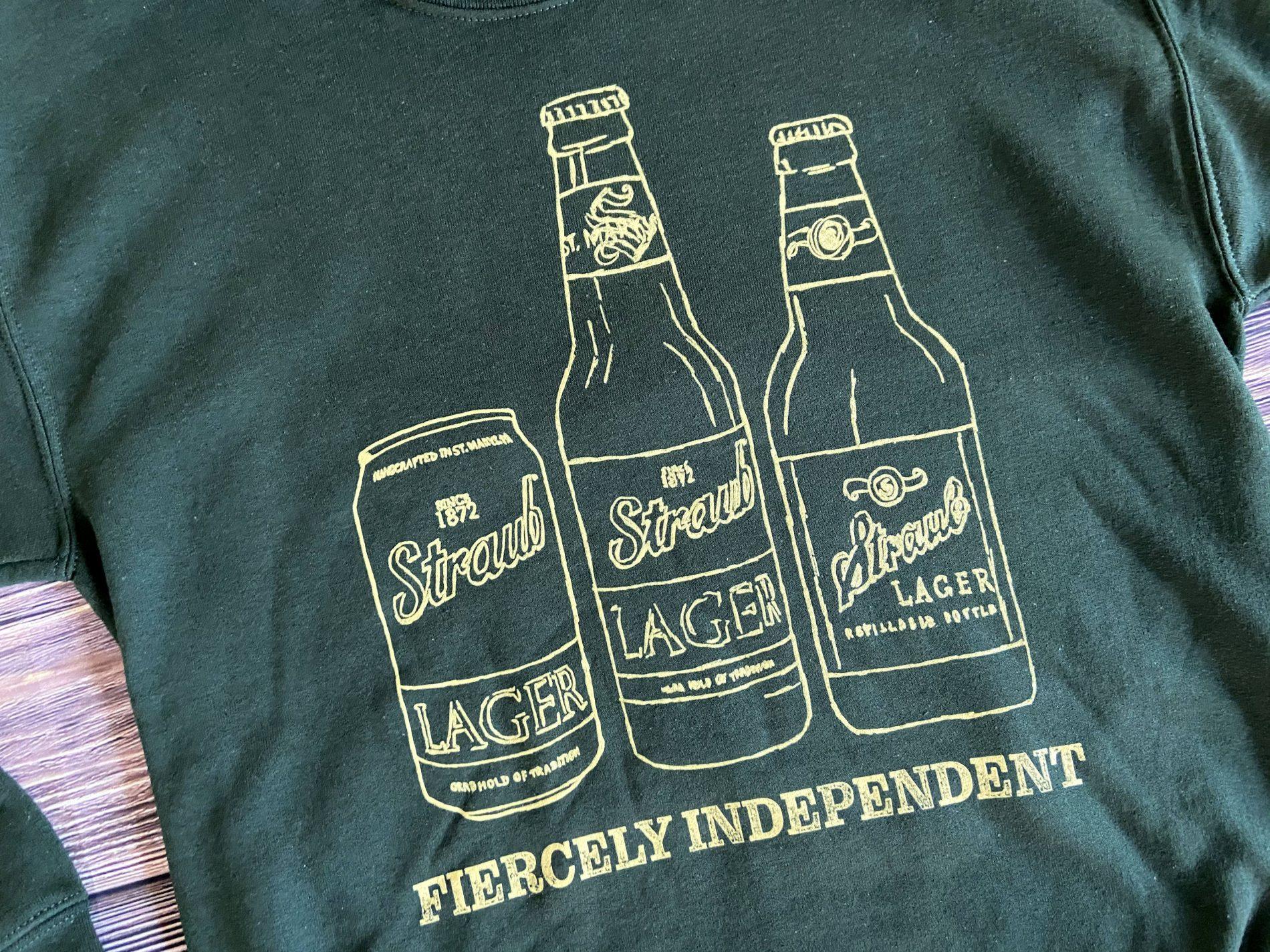 Straub Fiercely Independent bottle sweatshirt graphic detail