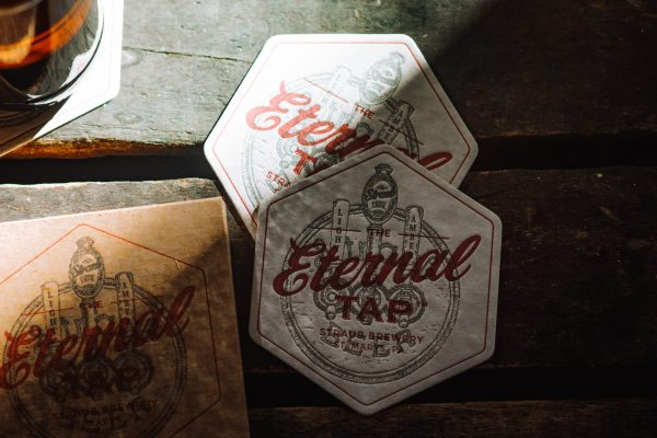 Straub coasters with Eternal Tap design