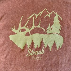 detail view of Straub elk tee graphic