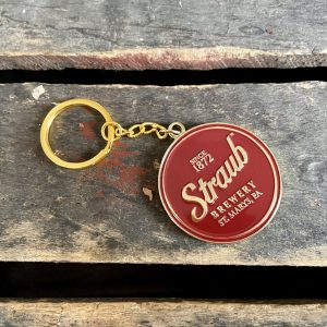 Straub gold colored enamel keychain