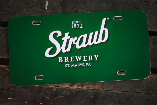 license plate with Straub Brewery logo