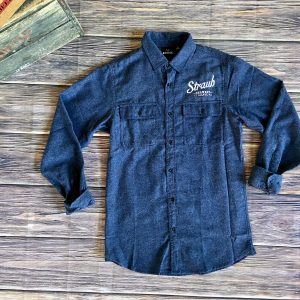 navy blue flannel shirt with Straub Brewery logo