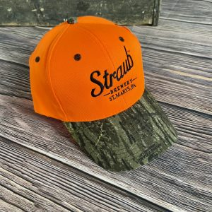 Straub Orange hat with camo brim