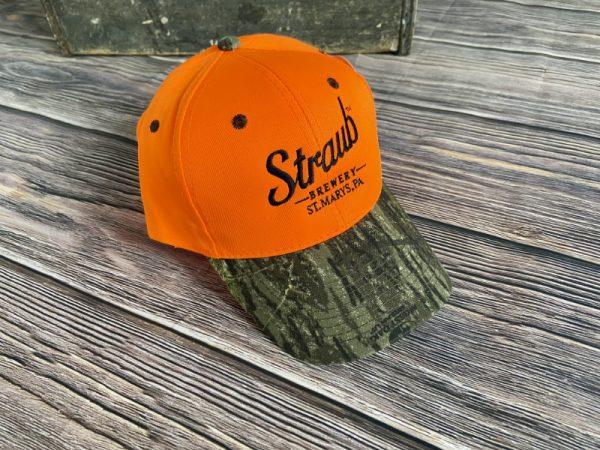 Straub Orange hat with camo brim