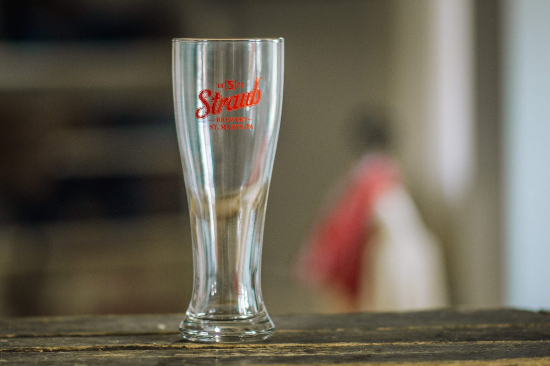 pilsner glass with Straub Brewery logo