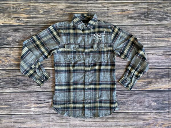 Straub gray and blue plaid flannel