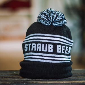Straub navy blue and white pom hat