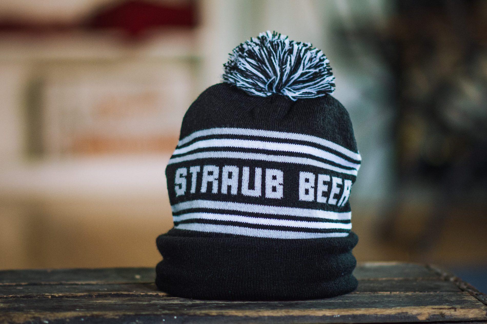 Straub navy blue and white pom hat
