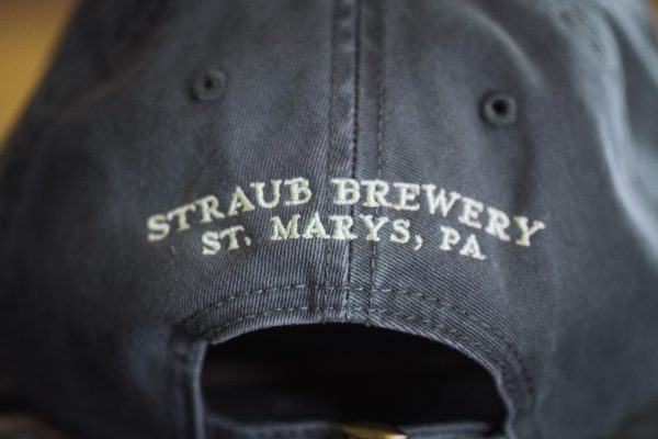 Strab Brewery name on back of of vintage gray baseball hat