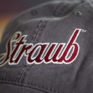 detail of the logo on vintage gray baseball hat
